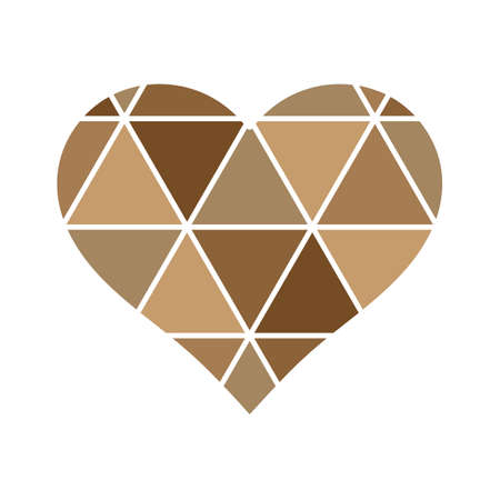 Golden Geometrical love Heart with triangles lines