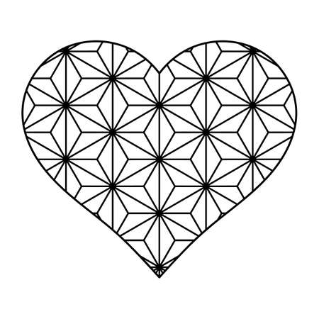 Heart shape in japanese style. Heart with flowers