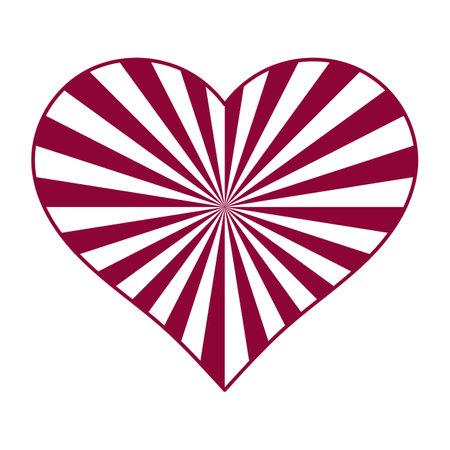 Sunburst red white heart. Love card. Vector illustration 向量圖像