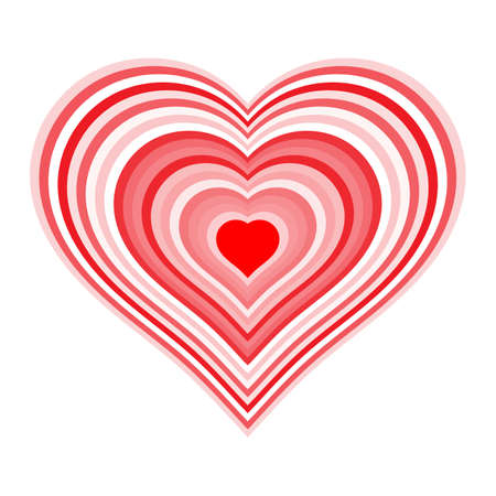 Striped red heart. Symbol of love on white
