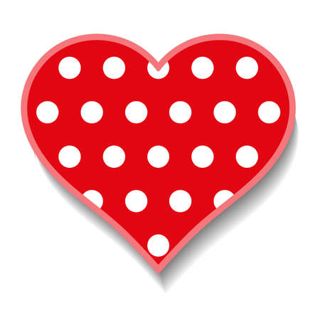 Red heart with white round polka dots