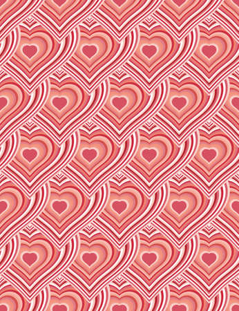 Striped red hearts seamless texture or background.