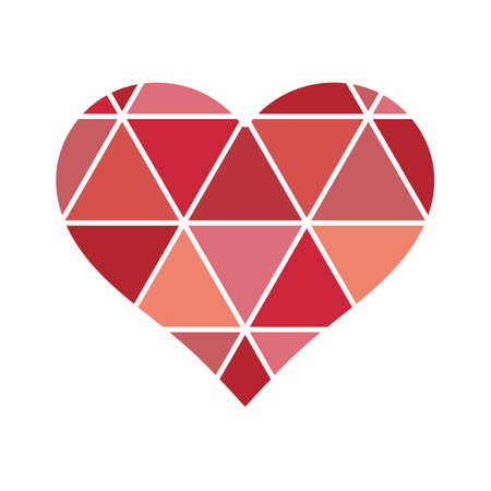 Geometrical love Heart with triangles lines design