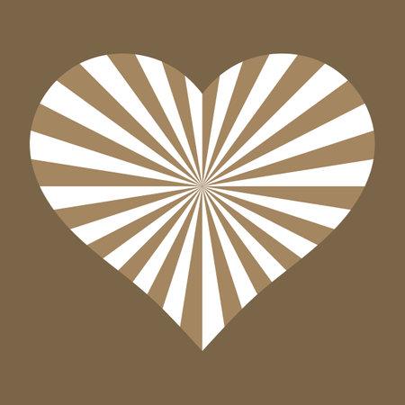 Sunburst golden white heart. Love card. Vector