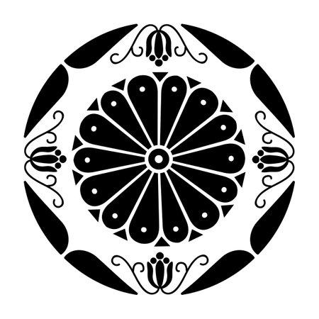 Japan style flower Sign Royal Hitachinomiya symbol 向量圖像