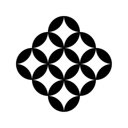 Japan style round element Kokonotsu Shippou symbol