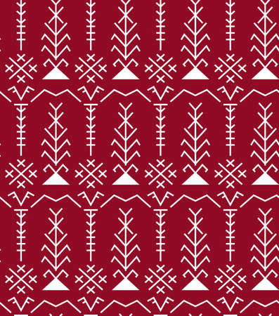 Ethnic Baltic Folk traditional ornament seamless pattern. 向量圖像