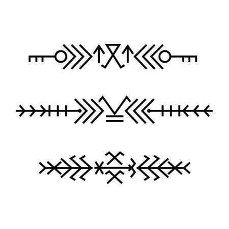 Ethnic baltic Folk linear art ornament borders. 向量圖像