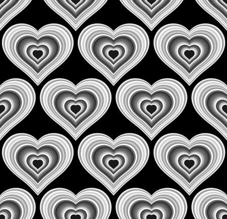 Striped black hearts seamless texture or background.