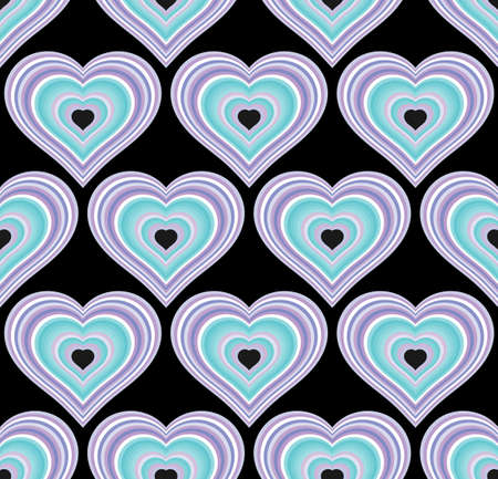 Striped blue hearts seamless texture or background. 向量圖像