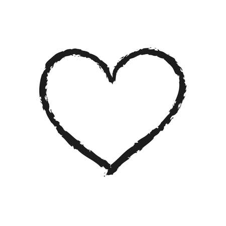 Vector Heart shape frame with brush painting. Chalk drawn heart