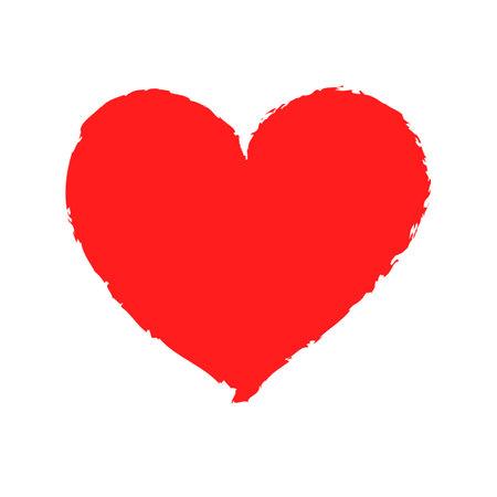 Vector red grunge Heart shape frame brush painting 向量圖像