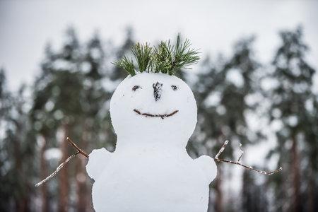 Happy Snowman. Making a snowman, first snow.