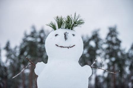 Funny snowman. Making a snowman, first snow.