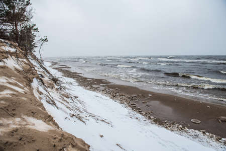 Baltic Sea wild beach is snowy in winter and there are big waves