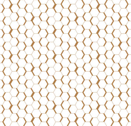 White golden seamless honeycomb hexagonal wall background.