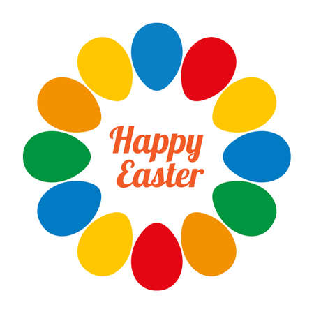 Colorful happy Easter eggs Round frame on light background. Vector image. Illusztráció