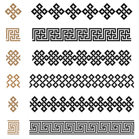 Ancient Greek seamless ornament constructor borders frames pattern set. Collection of seamless vintage traditional ornaments. from Greece