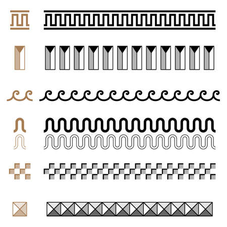 Ancient Greek seamless ornament constructor borders frames pattern set Illusztráció