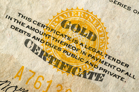 gold rush: United States Gold Currency Note (Certificate) Stock Photo