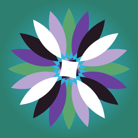 A stylized fantasy colorful abstract shape flower with multicolored petals