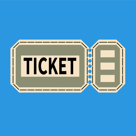 tear off ticket for any event on a light blue background flat