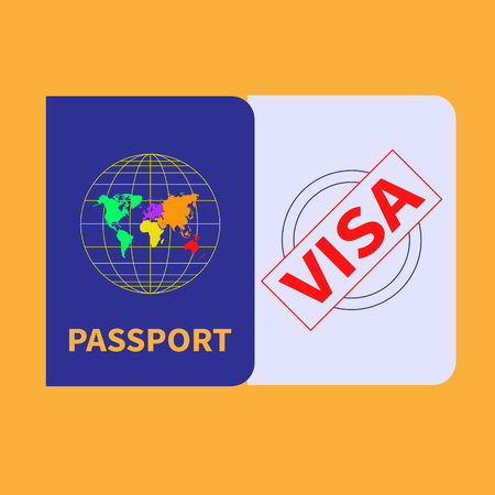 Foreign passport and visa stamp Flat design Vector Illustration.