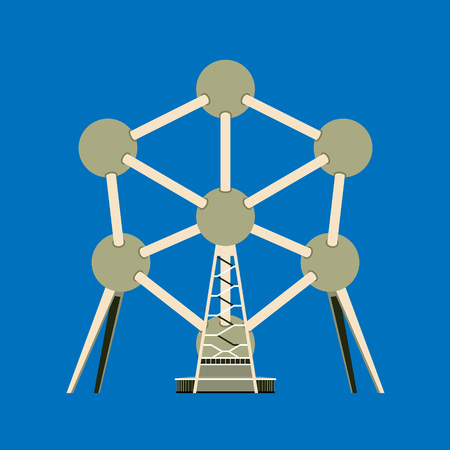 Aluminum monument Atomium is a symbol of the atomic age. Vector illustration on a blue background for design. Flat style.