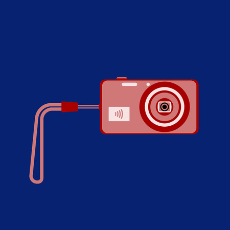 Vector illustration of compact digital camera with wrist strap on a dark blue background. Wifi technology. Flat style.