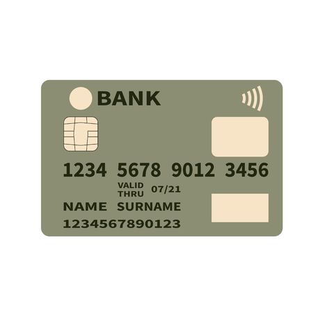 Realistic detailed credit or debit card on a white background. Contact less payments.