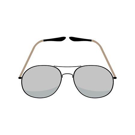 A Vector illustration of aviator sunglasses on a white background. Vintage fashion. Flat style.