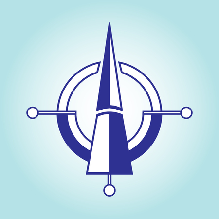 Orientation on the sides of the world from north to south. Modern concept for compass, map and any travel. Illustration