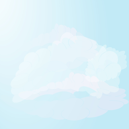Heavenly landscape with a group of realistic clouds on a blue sky background. Vector illustration.