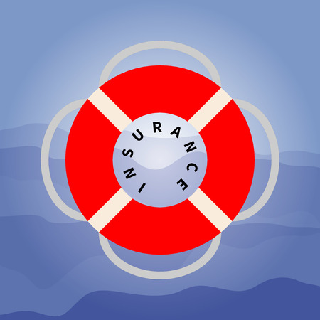Vector flat illustration of a red lifebuoy with a rope on the dark blue waves background. Modern stylized symbol of salvation, care, insurance. Ideal for catalogs, information and travel guides.