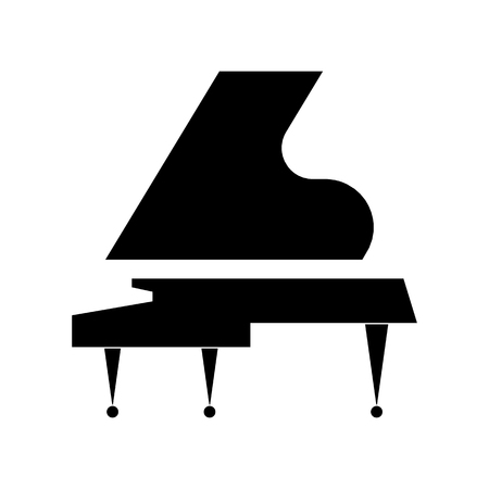 Vector flat illustration of musical instrument. Black Grand piano on a white background. Ideal for catalogs, information, piano lessons, concerts or music store.
