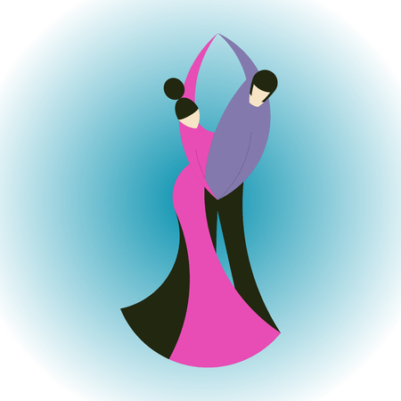 Vector flat illustration of stylized dancing couple on a light blue background. Flat style. Ideal for catalogs, information, ballroom and disco club.