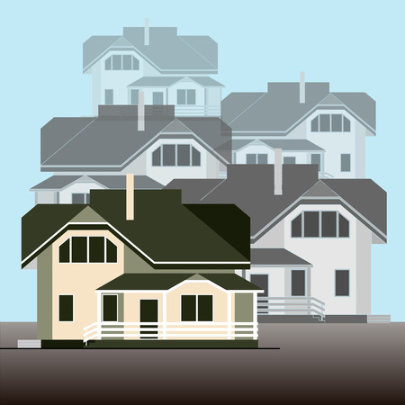 Facades of a cottage group on a light blue background. Flat design. Vector illustration. Ideal for catalogs, information, real estate and construction companies, sites and etc. Stockfoto - 98417778