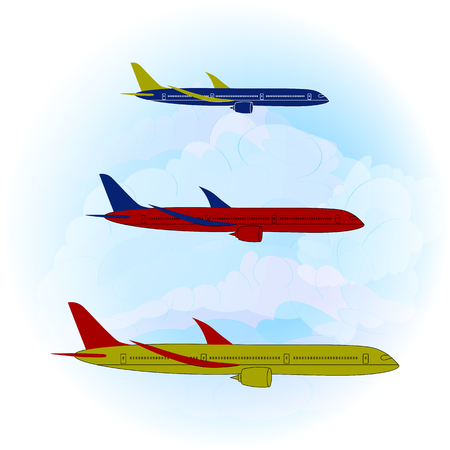 Vector illustration of three modern stylized airplanes on a light blue sky and clouds background. Side view of passenger jets. Flat style. Ideal for catalogs, information and travel guides.