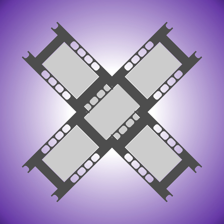 Fragments of camera film on a violet background. Old film black and white footage. Flat style. Vector Illustration.