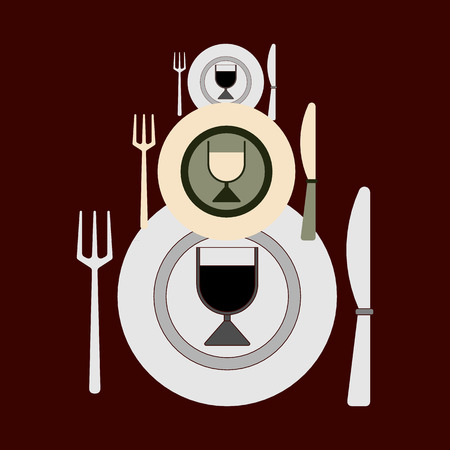 Plates, forks, knives and glasses of different sizes for changing dishes on a dark background. Flat design. Vector illustration. Suitable for restaurants, cafes, bars, menu, etc.