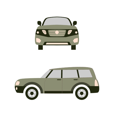 City car. Front and right view. Vector illustration in simple flat design. For catalogs, information, shops, travels, etc Illustration