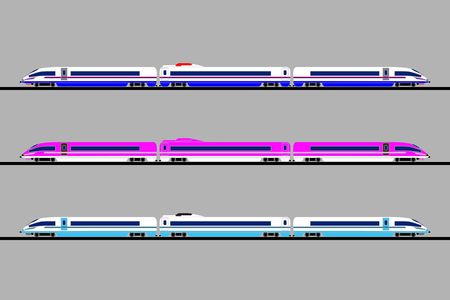 Three different colors of passenger express trains design