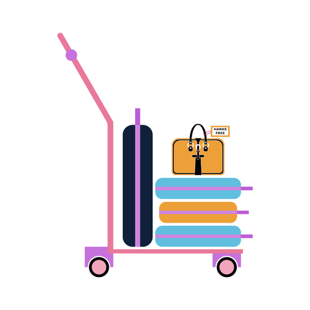 Vector flat illustration of luggage trolley with suitcases and hand bag. The baggage is on the luggage trolley. Design for infographic, catalogs, information, travel, website, app, UI, social media.