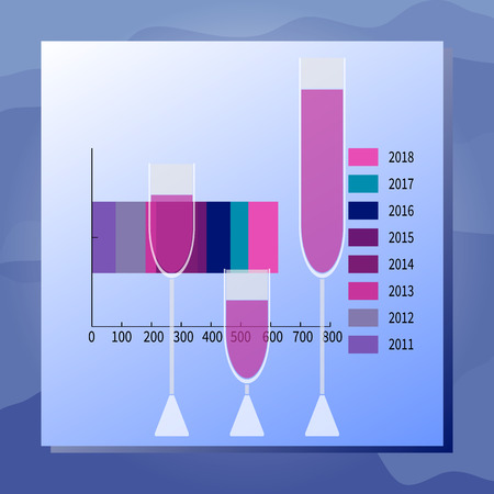 Vector illustration Drink consumption. Graph, full wineglasses. Sea waves background. Modern flat style. For presentations, advertising, annual reports, business infographic catalogs information