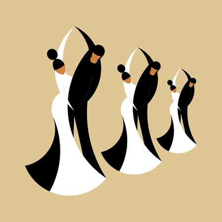 Flache Illustration des Vektors von stilisierten drei tanzenden Paaren auf einem beigen Hintergrund. Flacher Stil. Ideal für Kataloge, Informationen, Ballsaal und Disco-Club.