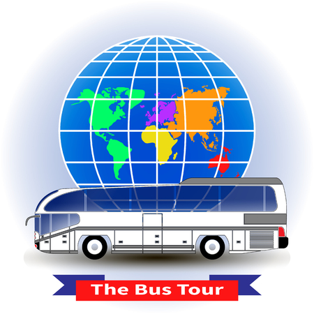 Modern intercity or tourist bus on a globe background. Vector illustration. Trendy concept of a bus tour around the world for infographic, catalogs, information, travel, website, app, UI, social media