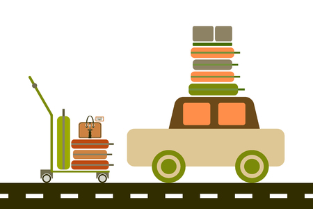 Vector flat illustration. Luggage trolley with suitcases. Car with luggage on the roof. The baggage is on the luggage trolley. For infographic, catalogs, information, travel, website, social media.