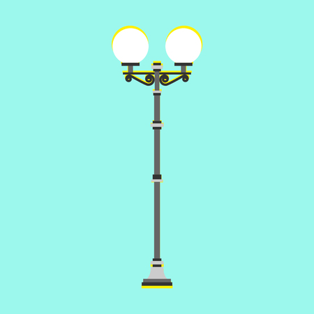 City street lamp. Lamppost, electric lamps. Vector illustration. Flat style. For infographic, catalogs, information, website. All layers and groups are organized for easy editing and color change.