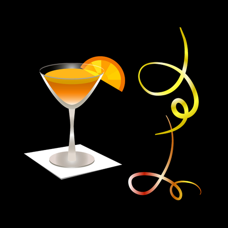 Orange fruit juice in a glass. Festive serpentine. Cocktail glass with orange slice on a napkin. Vector illustration. Theme holidays, healthy lifestyle. For bar, restaurant, cafe, cover, flyer, banner