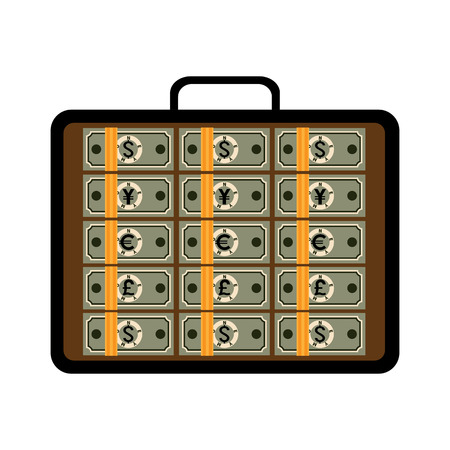 Suitcase full of money. Open briefcase with bundles of dollars, euros, Japanese yens, pounds. Vector business illustration of financial success, investment, capital, wealth, business opportunities.